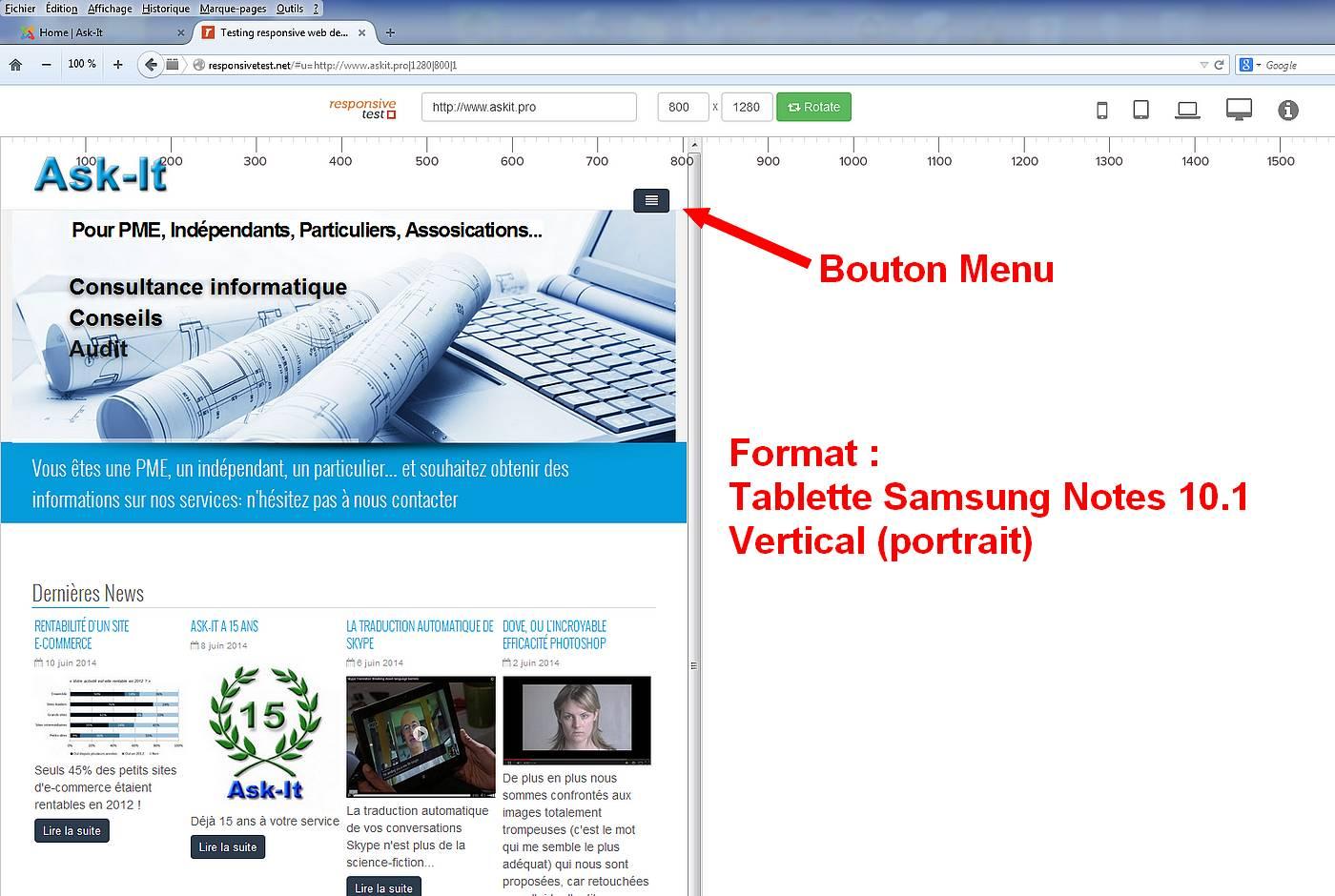 Responsive Tablette Samsung galaxy tab 10.1