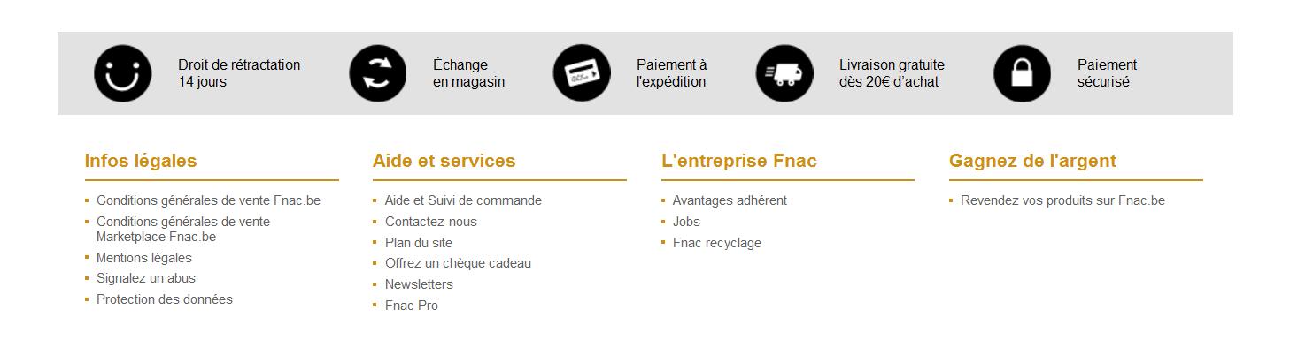 Amazon.fr un bel exemple d'affichage des données administratives
