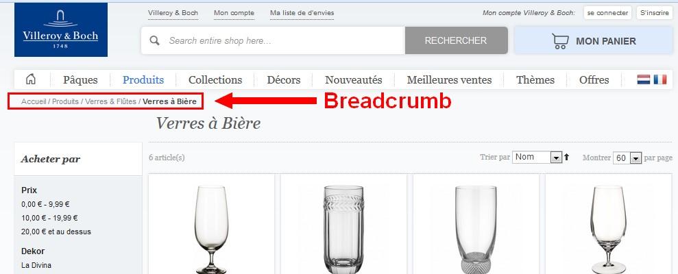 E-commerce breadcrumb fil d'Ariane